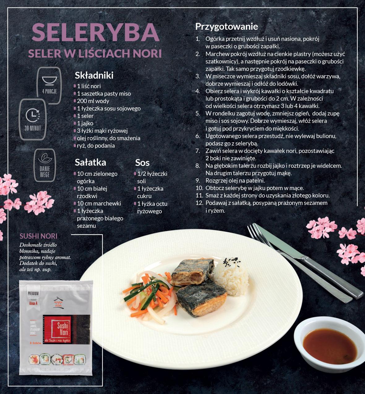 Seleryba - seler w liściach nori